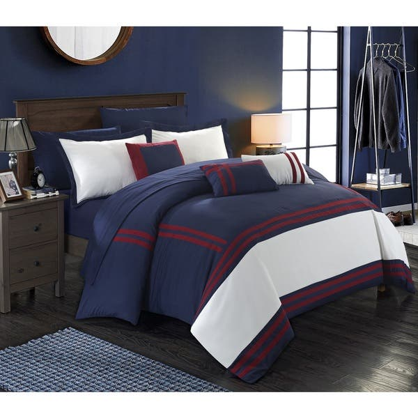 Shop Porch & Den Highland Navy and Red Oversized 10-piece ...