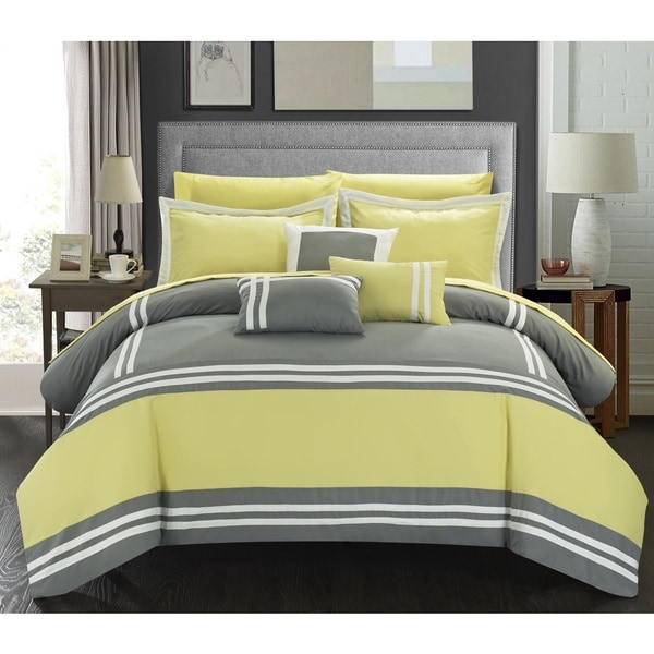 Chic Home Georgette Yellow Oversized 10-piece Bed in a Bag with Sheet Set