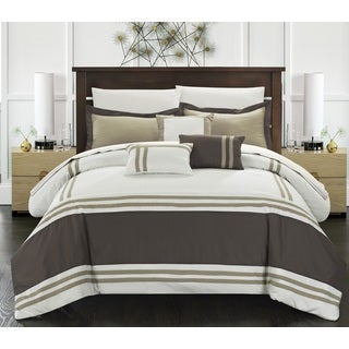 Chic Home 10-piece Georgette Beige Oversized Bed in a Bag Comforter Set