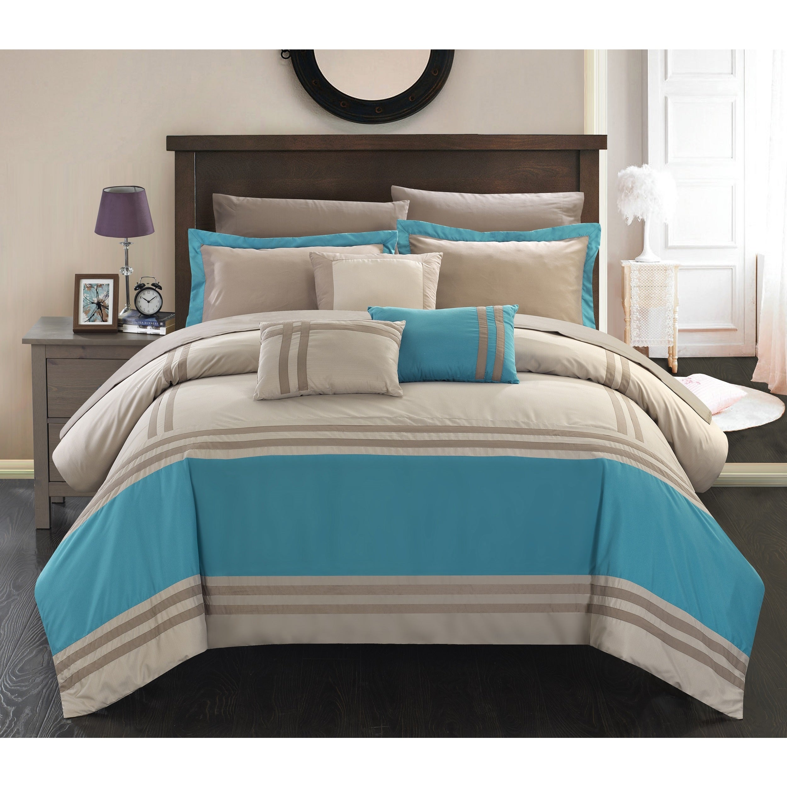 Chic Home 10 piece Geor te Teal Oversized Bed in a bag forter
