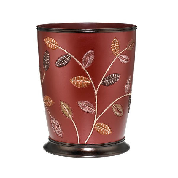 Burgundy Leaf Design Bath Accessory Collection