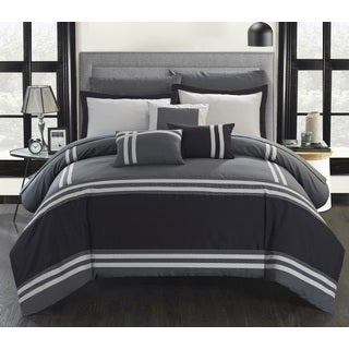 Chic Home 10-piece Georgette Oversized Grey Bed-in-a-Bag Comforter Set