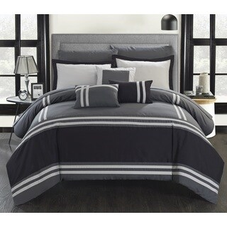 Georgette Grey Stripe Border 10-piece Bed-in-a-Bag with Sheet Set