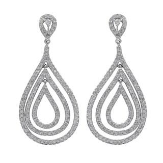 Luxiro Sterling Silver Pave Cubic Zirconia Floating Teardrop Dangle Earrings