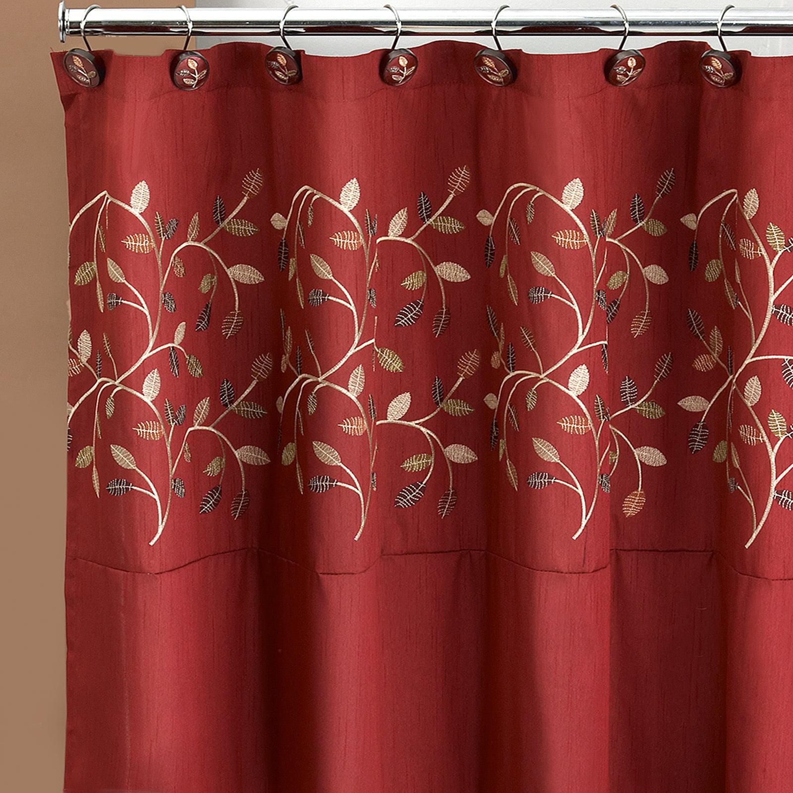 Shop Black Friday Deals On Burgundy Embroidered Leaf Pattern Shower Curtain And Hooks Set Or Separates Overstock 10763769