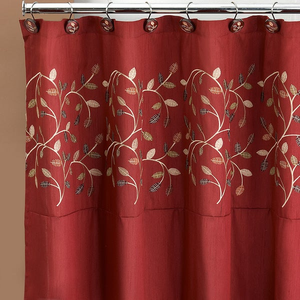 Genial Burgundy Embroidered Leaf Pattern Shower Curtain And Hooks Set Or Separates