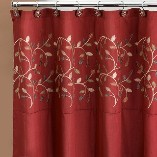 Burgundy Embroidered Leaf Pattern Shower Curtain and Hooks Set or Separates