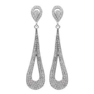 Luxiro Sterling Silver Micropave Cubic Zirconia Teardrop Dangle Earrings