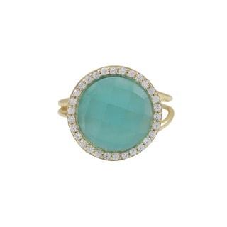 Gold Finish Sterling Silver Semi-precious Gemstone Adjustable Right Hand Ring