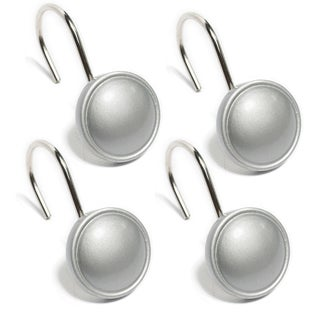 Classic Round Silver Hand Crafted Shower Curtain Hooks - Set of 12
