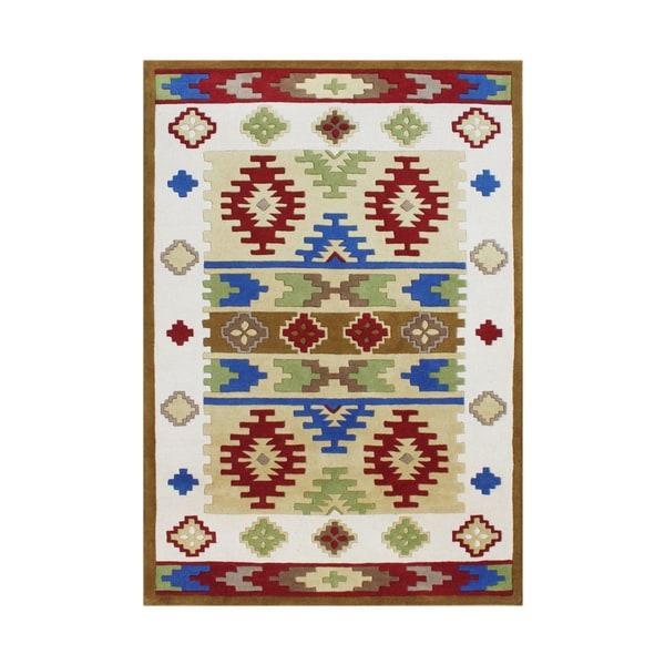 Alliyah Handmade Cream Abstract New Zealand Blend Wool Rug (5' x 8') - 5' x 8'