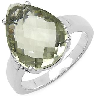 Olivia Leone Sterling Silver 7 2/5ct TGW Genuine Green Amethyst Ring