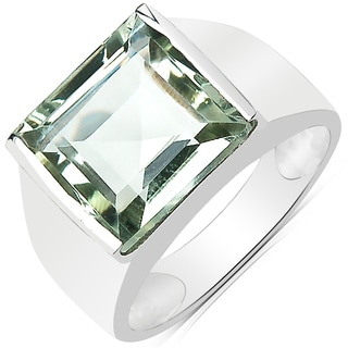 Olivia Leone Sterling Silver 5 3/4ct Genuine Green Amethyst Ring