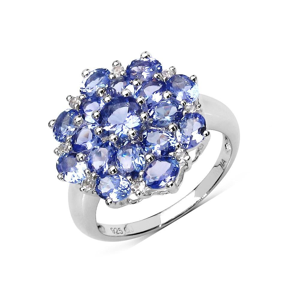 925 Sterling Silver Ring Naturel topaze bleue de cocktail Taille 5-11