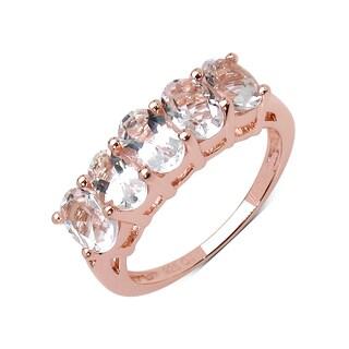 Olivia Leone 14K Rose Gold Plated 2.15 Carat Genuine Morganite .925 Sterling Silver Ring