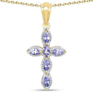 Olivia Leone 14K Yellow Gold Plated 0.84 Carat Genuine Tanzanite .925 Streling Silver Pendant