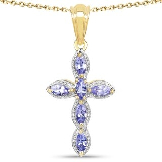 Olivia Leone 14K Yellow Gold Plated 0.84 Carat Genuine Tanzanite .925 Streling Silver Pendant