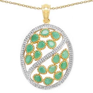 Olivia Leone 14k Yellow Goldplated 2 1/6ct TGW Genuine Emerald Pendant