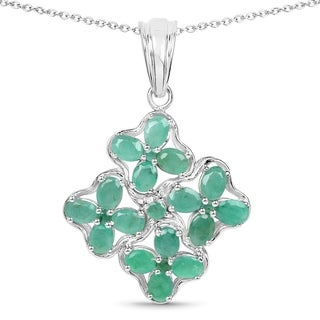 Olivia Leone Sterling Silver 2 2/5ct Genuine Emerald Pendant