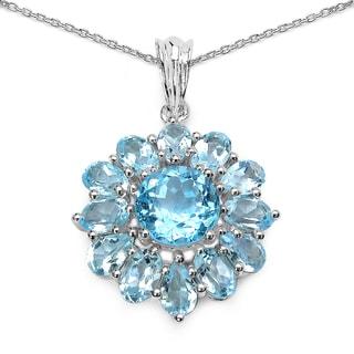 Olivia Leone 9.49 Carat Genuine Blue Topaz .925 Sterling Silver Pandent