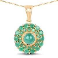 Olivia Leone Sterling Silver 2 1/2ct Genuine Emerald Pendant