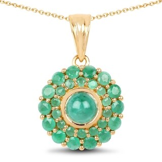 Olivia Leone Sterling Silver 2 1/2ct Genuine Emerald Pendant