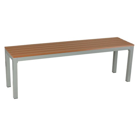 Cortesi Home Avery Large Aluminum Outdoor Bench in Poly Wood, Silver/Teak