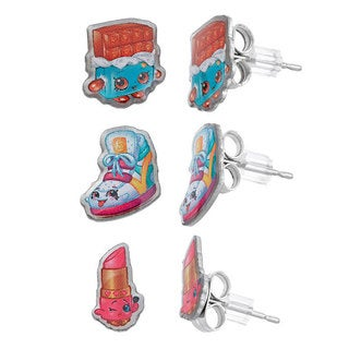 Shopkins Silvertone Chidren's 3-piece Stud Earrings Set