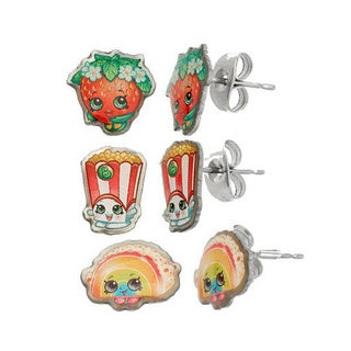 Shopkins Silvertone Chidren's 3-piece Printed Strawberry Kiss/ Poppy Corn/ Rainbow Bite Taco Stud Earring Set