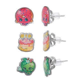 Shopkins Silvertone Chidren's 3-piece Apple Blossom/ D'lish Donut/ Birthday Wishes Stud Earring Set