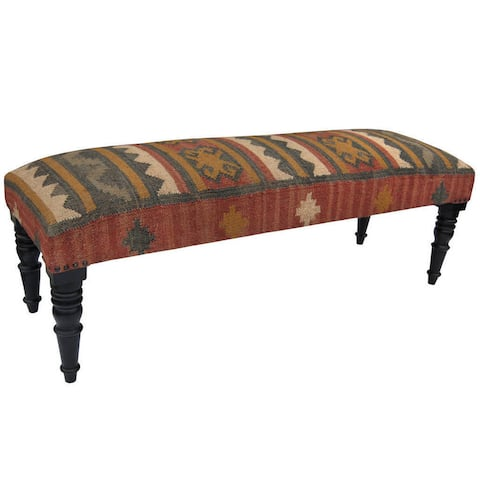 """Indo Handmade Cottonupholstered Wooden Bench (India) - 48"""" x 16"""" x 18"""""""