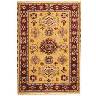 Herat Oriental Indo Hand-knotted Tribal Kazak Wool Rug (4'2 x 6')