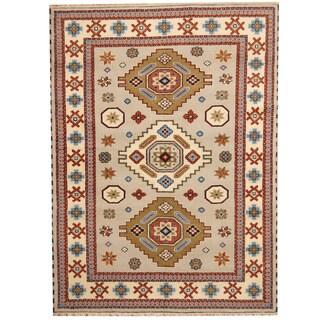Herat Oriental Indo Hand-knotted Tribal Kazak Gray/ Ivory Wool Rug (5'9 x 7'9)