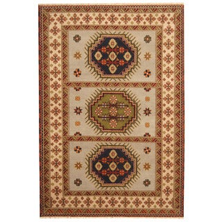 Herat Oriental Indo Hand-knotted Tribal Kazak Gray/ Ivory Wool Rug (5'9 x 8'4)