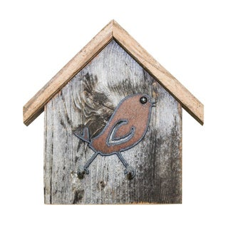Natural Reclaimed Rustic Birdhouse Key Holder, Songbird