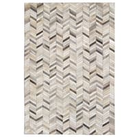 Carbon Loft Montgolfier Hand-stitched Grey Chevron Cowhide Leather Rug - 8' x 10'
