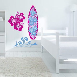 Printed Girl's Surfing Wall Decal Pack