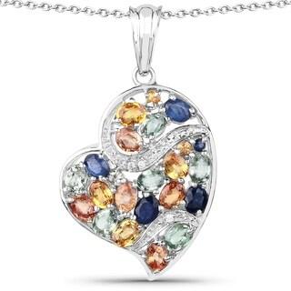 Olivia Leone 4.41 Carat Genuine Multi Sapphire .925 Sterling Silver Pendant