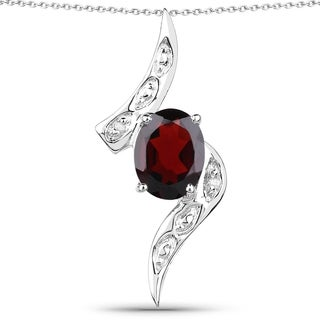 Malaika Sterling Silver 2 1/2ct Garnet and White Diamond Accent Pendant