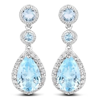 Olivia Leone 9.46 Carat Genuine Blue Topaz and White Topaz .925 Sterling Silver Earrings