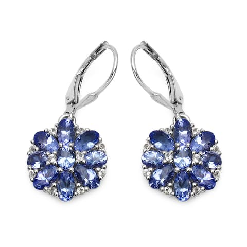 Olivia Leone Sterling Silver 4 1/2ct Tanzanite and White Topaz Earrings