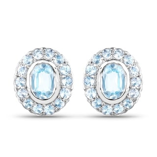 Olivia Leone Sterling Silver 2 7/8ct Genuine Blue Topaz Earrings