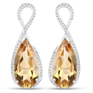 Malaika 10.04 Carat Genuine Citrine .925 Sterling Silver Earrings
