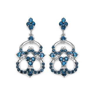 Olivia Leone 4.84 Carat Genuine London Blue Topaz .925 Sterling Silver Earrings