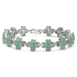 Malaika Sterling Silver 7 7/8ct TGW Emerald Bracelet
