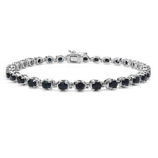 Malaika 6.70 Carat Genuine Black Sapphire .925 Sterling Silver Bracelet