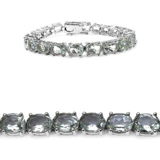 Olivia Leone 26.40 Carat Genuine Green Amethyst .925 Sterling Silver Bracelet
