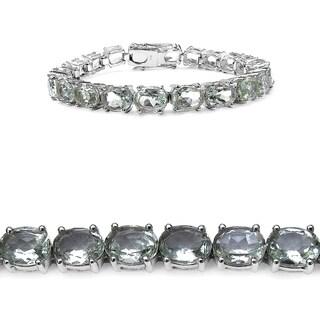 Olivia Leone 26.40 Carat Genuine Green Amethyst .925 Sterling Silver Bracelet - Purple
