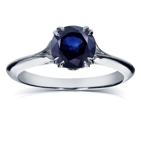 Annello by Kobelli 14k White Gold Blue Sapphire and Diamond Antique Flower Head Soft Knife Edge Ring
