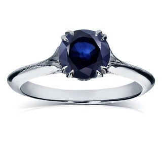 Annello by Kobelli 14k White Gold Blue Sapphire and Diamond Antique Flower Head Soft Knife Edge Ring